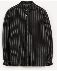 A.P.C. St Germain Stripe High-neck Shirt - Black