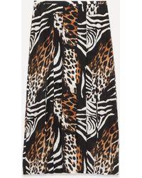 RIXO London Georgia Animal-print Midi-skirt - Black