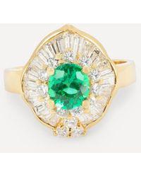 Kojis Gold Emerald And Diamond Ballerina Ring - Metallic