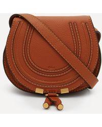 Chloé Marcie Mini Leather Saddle Bag - Grey