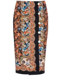 Liberty Dina Stretch Cotton Button Skirt - Black