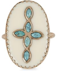 Pascale Monvoisin Rose Gold Bowie N°3 Turquoise And Bakelite Cross Ring - Metallic
