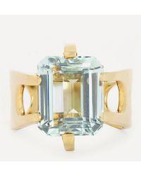 Kojis 14ct Gold Aquamarine Ring - Metallic