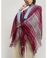Missoni Zig-zag Stripe Open Weave Cape - Red
