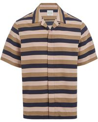 Paul Smith Tailored-fit Open Collar Stripe Shirt - Blue