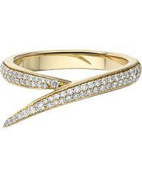 Shaun Leane 18ct Gold Diamond Single Interlocking Ring - Metallic