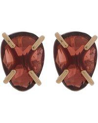 Melissa Joy Manning Gold Garnet Stud Earrings - Metallic