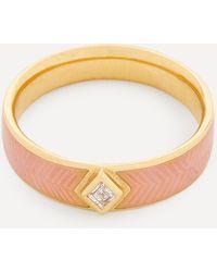 Brooke Gregson Gold Kite Diamond Engraved Enamel Ring - Metallic