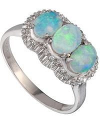 Kojis - White Gold Opal And Diamond Cluster Ring - Lyst