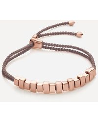 Monica Vinader Rose Gold Plated Vermeil Silver Linear Ingot Cord Friendship Bracelet - Metallic