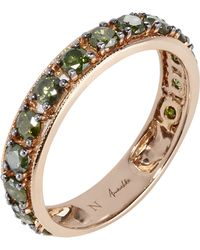 Annoushka - 18ct Rose Gold Dusty Diamonds Green Diamond Eternity Ring - Lyst