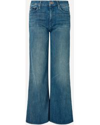 Mother The Roller Ankle Fray Wide-leg Jeans - Blue