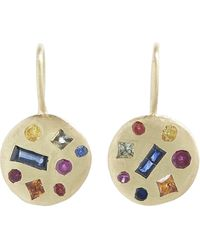 Polly Wales Gold Celeste Harlequin Sapphire Disc Drop Earrings - Metallic