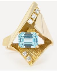 Kojis 14ct Gold Space Age Aquamarine And Diamond Cocktail Ring - Metallic