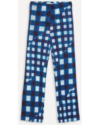 Pleats Please Issey Miyake Check Pleated Trousers - Blue