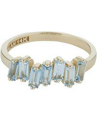 Suzanne Kalan Gold Blue Topaz Baguette Ring - Metallic