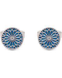 Simon Carter Stained Glass Enamel Rose Cufflinks - Blue