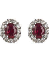 Kojis - White Gold Diamond Cluster Ruby Ear Studs - Lyst