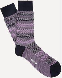 Missoni Crochet-knit Zig-zag Socks - Purple