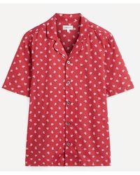 Liberty On The Ball Tana Lawntm Cotton Cuban Collar Casual Shirt - Red