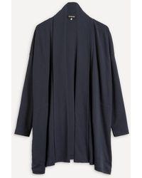 Eskandar Shawl-collar Long Cardigan - Blue