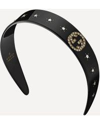 Gucci Crystal Interlocking G Resin Headband - Black
