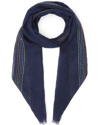 Paul Smith Embroidered Stripe Stitch Linen Scarf - Blue