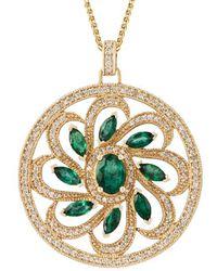 Kojis - Gold Emerald And Diamond Pendant Necklace - Lyst