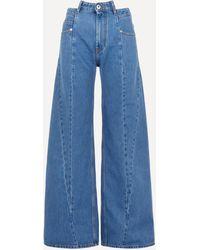 Maison Margiela - Panelled High-rise Wide-leg Jeans - Lyst