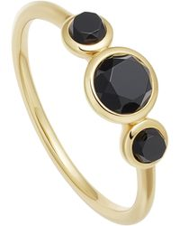 Astley Clarke Gold Vermeil Stilla Triple Black Onyx Ring - Metallic