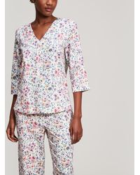 Liberty - Delilah Brushed Cotton Long Pyjama Set - Lyst