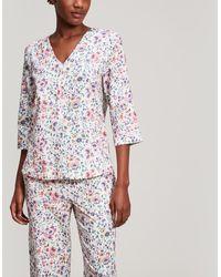 Liberty - Delilah Brushed Cotton Pyjama Set - Lyst