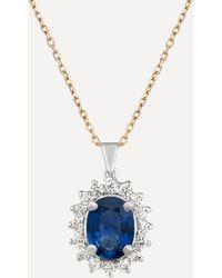 Kojis 18ct Gold Sapphire And Diamond Cluster Pendant Necklace - Metallic