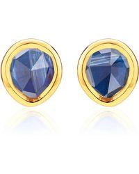 Monica Vinader - Gold Vermeil Kyanite Siren Mini Stud Earrings - Lyst