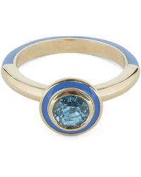 Alice Cicolini Gold Candy Lacquer Round Blue Zircon Ring - Metallic