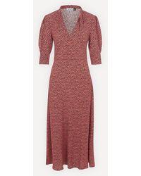 RIXO London - Isabella Tie-neck Midi-dress - Lyst