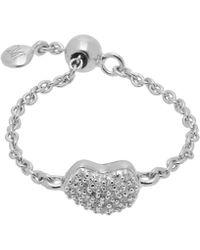 Monica Vinader Silver Nura Diamond Heart Friendship Ring - Metallic