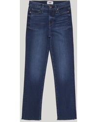 PAIGE - Hoxton Straight Ankle Raw Hem Jeans - Lyst