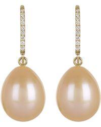 Kojis - Gold Pearl And Diamond Drop Earrings - Lyst