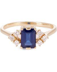 Anna Sheffield - Gold Bea Arrow Sapphire And Diamond Ring - Lyst