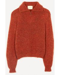 Paloma Wool Cero Unisex Zip-up Knit Jumper - Orange