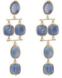 Rosantica Gold-tone Nettare Blue Quartz Tiered Drop Earrings