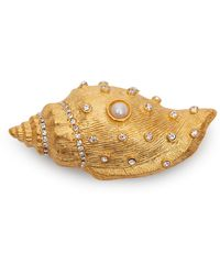 Kenneth Jay Lane Gold-plated Crystal And Faux Pearl Shell Brooch - Metallic