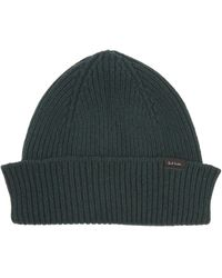 Paul Smith Ribbed Cashmere And Wool-blend Beanie - Green