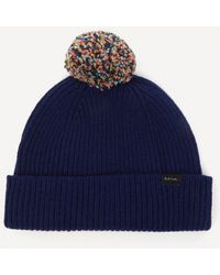 Paul Smith Knitted Wool Bobble Hat - Blue