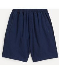 Folk Assembly Washed Cotton-linen Shorts - Blue