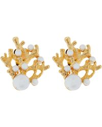 Kenneth Jay Lane Gold-plated Faux Pearl Coral Clip-on Earrings - Metallic