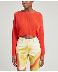 Paloma Wool Barita Crinkle Reverse Crop Top - Red