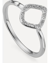 Monica Vinader Silver Riva Mini Diamond Kite Stacking Ring - Metallic