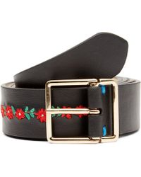 Paul Smith - Aflora Floral Stripe Embroidered Leather Belt - Lyst